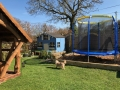 Trampoline and wendyhouse
